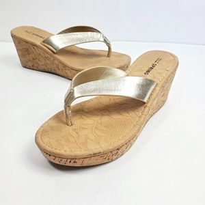 Call it Spring Gold Metallic Open Toe Wedges